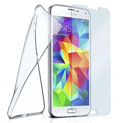 moex Silikon-Hülle für Samsung Galaxy S5 | + Panzerglas Set [360 Grad] Glas Schutz-Folie mit Back-Cover Transparent Handy-Hülle Samsung Galaxy S5 / S5 Neo Case Slim Schutzhülle Panzerfolie