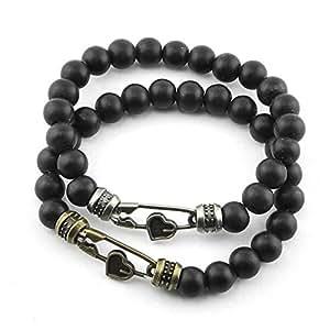Bracelet multi-rangs - Bijou fantaisie multirang - Coeurs - Noir - Louna - Cadeau Femme pas cher - Mes Bijoux Bracelets