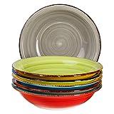 6-tlg. Teller-Set Malaga | Bunt | Suppenteller Tief | 650 ml | Ø 21.5 cm | Salatteller | Servier-Schale | Porzellan-Teller | Handbemalt | Bicolor