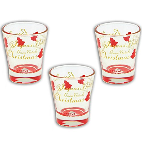 Confezione di 3 tazzine 8,5cl bicchierini caffè liquore - Cerve Columbia Red Natale Addobbo tavola