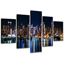 Visario 6309 Bild auf Leinwand New York fertig gerahmte Bilder 5 Teile Marke original, 200 x 100 cm