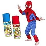 Costume SPIDERMAN + 2 STELLE FILANTI in OMAGGIO (effetto RAGNATELA) - Tg. L 7-8 Anni - Vestito UFFICIALE Uomo ragno bambino Carnevale