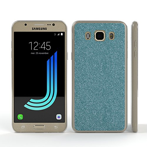 Samsung Galaxy J5 (2016) Hülle - EAZY CASE Handyhülle - Ultra Slim Glitzer Schutzhülle aus Silikon in Rosé Glitzer Hellblau