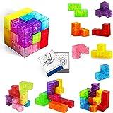 Buself Magnetische Bausteine Würfel Magnetische Steine für Kinder mit 54 Smarte Teile Puzzles 3D Gehirn Training Intelligenz Stressabbau Spielzeug Spiele Quadratische Magnete Würfel