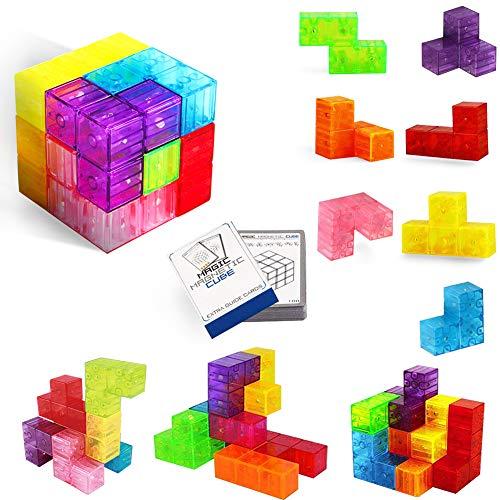 Buself Magnetische Bausteine Würfel Magnetische Steine für Kinder mit 54 Smarte Teile Puzzles 3D Gehirn Training Intelligenz Stressabbau Spielzeug Spiele Quadratische Magnete Würfel (3d-puzzles Für Kinder)