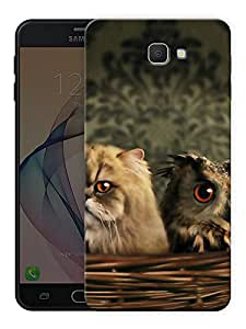 """Humor Gang grumpy cat and owl Printed Designer Mobile Back Cover For """"Samsung Galaxy J7 Prime"""" (3D, Matte Finish, Premium Quality, Protective Snap On Slim Hard Phone Case, Multi Color)"""