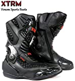 MOTORBIKE XTRM VENOM BOOTS Motorcycle New Style Racing Touring Sports Armour Boots Black (UK 7 / 41 EU)