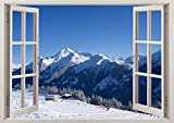 3D-Wandbild Geöffnetes Fenster - großformatig aus hochwertigem Vinyl - wiederverwendbar - Poster Blick aus dem Fenster - Wandtattoo Badezimmer - 3D Fototapete Wandsticker Schnee Berge 85 x 115 cm