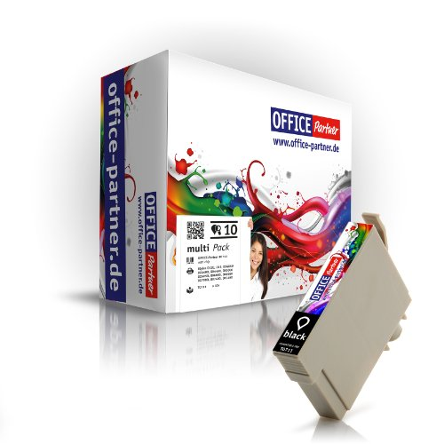 10x Negro Cartucho de tinta compatible con Epson T0711 para Epson Stylus D120 / D120 Network Edition / D78 / D92 / DX4400 / DX5000 / DX7000F / DX8400 / DX8450 / Oficina B40W / BX300F / BX600FW / BX610FW; S20 / S21 / SX10 / SX105 / SX110 / SX115 / SX200 / SX20 / SX210 / SX215 / SX405 / SX405 WiFi / SX410 / SX415 / SX510W / SX515W / SX600FW / SX610FW