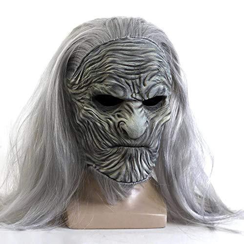 WSNGD Scary Game of Thrones 8 Die weißen Wanderer Maske Cosplay Night King Zombie Halloween Latex Masken Party Kostüm - Zombie Wanderer Kostüm