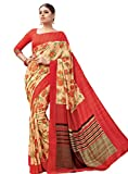 Shree Saree Kunj Beige and Red Printed Soft Silk Saree
