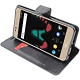 ebestStar - Coque Wiko Upulse Lite Etui PU Cuir Housse Portefeuille Porte-Cartes Support Stand, Noir [Appareil: 144 x 72 x 8.4mm, 5.2'']
