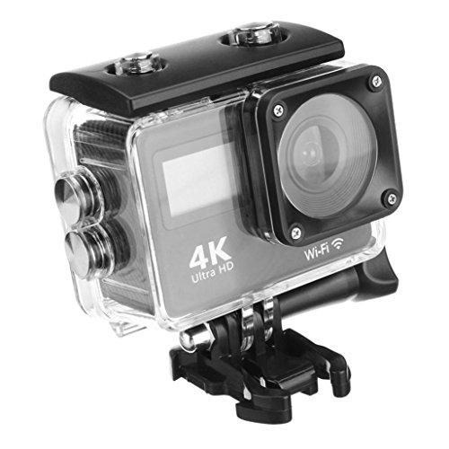Huhu833 Unterwasserkamera Action Kamera 30 Meter Wasserdicht 4K Dual Screen Wifi HD 1080P Sport Action Kamera Touchscreen DVR Cam Camcorder 170 ° A + HD Weitwinkelobjektiv (Schwarz)