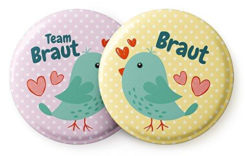 """Spielehelden 12er Set """"Vogelhochzeit"""" süße Anstecker - JGA Buttons Set – Junggesellinnenabschied Frauen Buttons als Bachelorette Party Accessoires"""