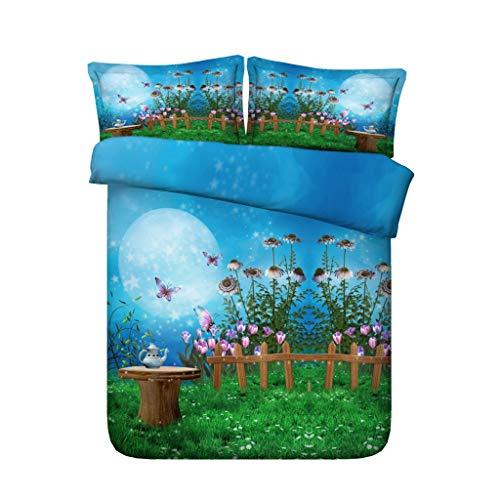 Blossom König Tröster (Mädchen Kinder Schmetterling Blumendruck Bettwäsche Galaxy Bed Set Pilz Tröster Abdeckung Mond Tagesdecke Sternennacht Sterne Bettdecke Baum Bettbezug Blossom (Farbe : Blue Bedding, größe : King))