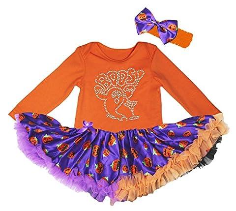 Petitebelle Bling BOOS Ghost Orange L/s Bodysuit Pumpkin Purple Tutu Nb-18m (12-18 Months)