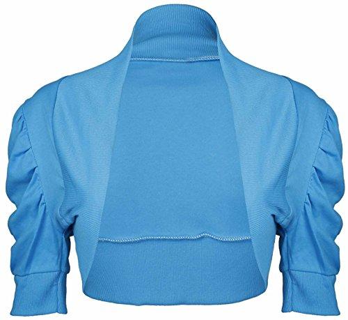 Bolero spalla GIACCHINA donna a maniche corte Top arruffato maniche chrysokoll giacca Turchese