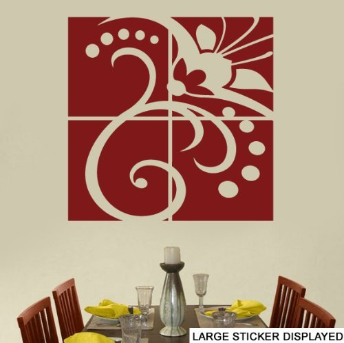 Flower 4 Panel - LARGE - WALL ART VINYL STICKERS - 86cm x 86cm Burgundy by Stickers on Your Wall (Top Butterfly Leaf)