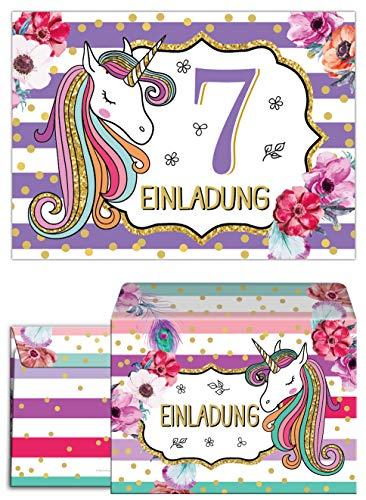 Junaversum 12 Einladungskarten incl. 12 Umschläge zum 7. Kindergeburtstag Mädchen Einhorn Unicorn Einladungen zum siebten Geburtstag siebte