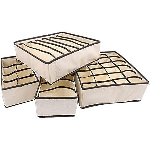 Lifetop Set 4 pezzi Top Underwear-legacci da calzini Divisorio per cassetti armadio-Contenitore Organizer Home Essential Non tessuto Beige White