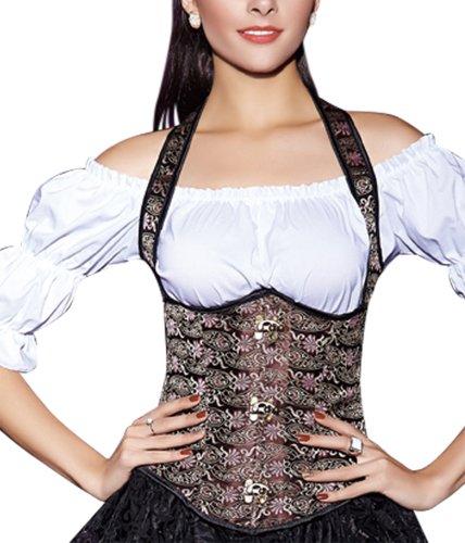 r-dessous Neckholder Unterbrust Korsett Schnür Taillen Corsage Trachten Mieder Bluse Dirndl Corset Party Mode Groesse: M