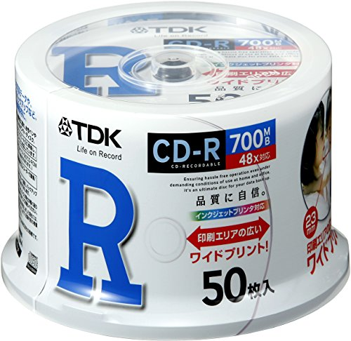 TDK Daten CD-R 700MB 48Speed entsprechenden weiß breit bedruckbar Spindel 50Stück von cd-r80pwdx50Pa