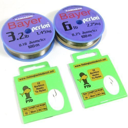ftd-kamasan-bayer-perlon-100m-32lb-6lb-fishing-line-with-size-10-12-or-12-14-barbless-hooks-to-nylon