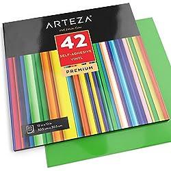 ARTEZA Feuilles de vinyle autocollant | Lot de 42 | 30,4 X 30,4 cm | Vinyle adhésif aux couleurs vives et uniques | Compatible avec machines de découpe manuelles ou massicots