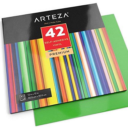 Arteza Selbstklebende Vinyl-Folie | 12 x 12 Zoll (30.4 cm x 30.4cm) Blattgröße | Set mit 42 Klebefolie in Verschiedenen Farben | Vinyl-Blätter zum Aufkleben auf Glatten Oberflächen | Ideal zu Basten
