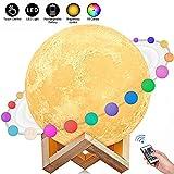 AGM Lampe Lune 3D 15CM 16 Couleurs Télécommande Tactile USB Rechargeable Veilleuse avec Support en Bois Lampe de Décoration, Cadeau pour Fête/Noël [Classe énergétique A+++]