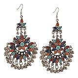 #10: I Jewels Oxidized Silver Afghani Tribal Dangler Hook Chandbali Earrings for Women (E2551)