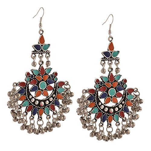 I Jewels Oxidized Silver Afghani Tribal Dangler Hook Chandbali Earrings for Women (E2551)