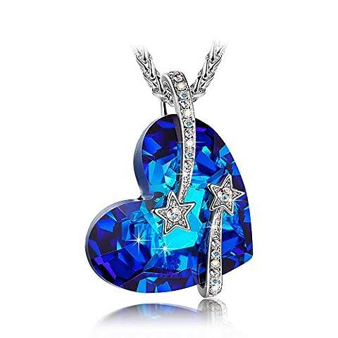 LADY COLOUR Je t'aime Collier Femme cristaux de Swarovski bleu bijoux cadeau anniversaire fete des meres idee cadeau noel cadeau saint valentin amoureux romantique mere fille couleur