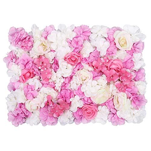 Weddecor Künstliche Blumen Hortensie Wandplatte für das Rück- Tropfen Hintergrund, Hochzeit, Party Dekoration, Blumen Stumpen - Weiß mit Rosa Rose, 60 X 40cm - Weiß und Hellrosa