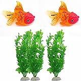 GOOTRADES 5 Stk/1 Set Aquarium Fisch Tank Dekor Ornament (2 Glühende Goldfische, 3 Künstliche...