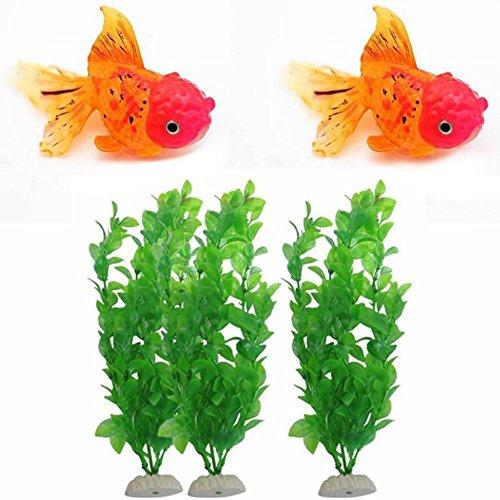GOOTRADES 5 Stk/1 Set Aquarium Fisch Tank Dekor Ornament (2 Glühende Goldfische, 3 Künstliche Pflanzen)