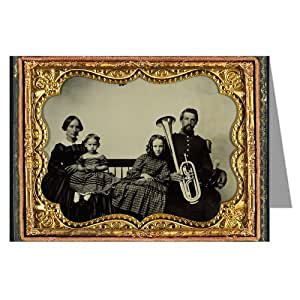 1 Vintage Greeting Cards of Union soldier in uniform with wife and daughters holding saxhorn-Ambrotype of the Civil War