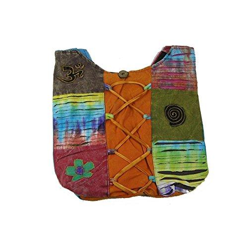 Patchwork Borsa Da Donna Borsa marsupio Borsa a tracolla borsa a tracolla Hippie Shopper ricamato - Arricciatura, , Einheitsgröße Lacci