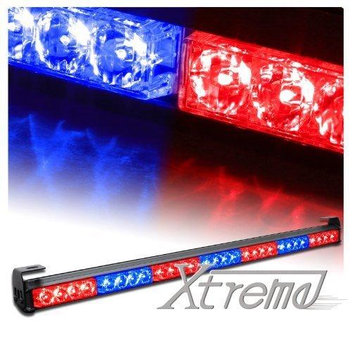 Xprite 31.5 28 LED 7 Modes Traffic Advisor Emergency Warning Vehicle Strobe Light Bar Kit (Red/BLue) by Xprite Led Emergency Vehicle Lights
