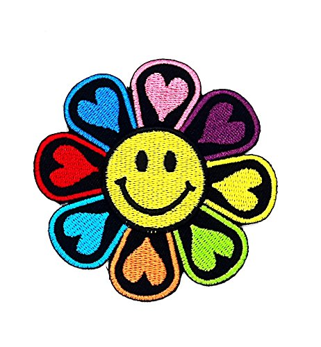 Disney Old School Kostüme (rabana Flower funny Smiley Smile Happy Face Cartoon Kids Kinder Cute Animal Patch für Heimwerker-Applikation Eisen auf Patch T Shirt Patch Sew Iron on gesticktes Badge Schild)