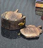 Indiabigshop Holz handgefertigte Coaster Set von 6 handcrafted grünen Farbton Messing Inaly craved Flower Design mit Apply Form Coaster Verwendung für Sweet Home, Hotel, Motels, Restaurant Größe 5 X 5 Zoll
