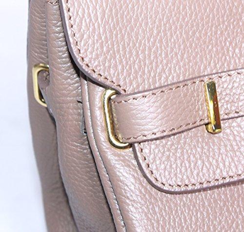 Superbe sac à main d'inspiration Birkin en cuir italien avec bordure dorée Grande Taille Taupe foncé