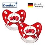 Dentistar® Silikon Schnuller 2er Set inkl. 2 Schutzkappen - Nuckel Größe 3, ab 14 Monate – Kirsche rot