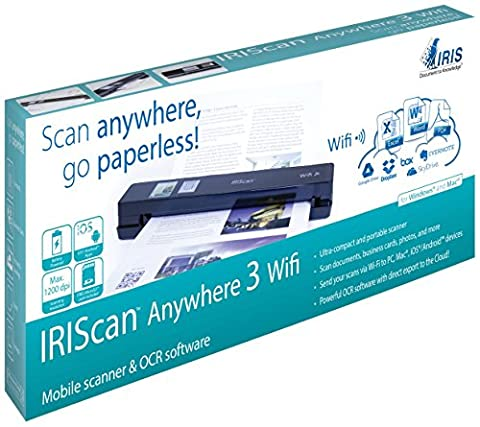 IRIS 458129 Anywhere 3 WiFi IRIScan Scanner (1200x1200 dpi, USB) schwarz (Scanner A4 Lan)