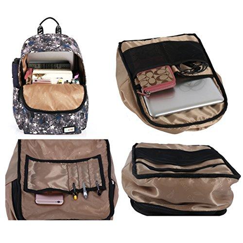 Mocha weir JIAYBL Laptop Taschen Schultern Kinder Schultaschen Rucksack Hochschule Mädchen Canvas Pack reisen (tief grau) lila