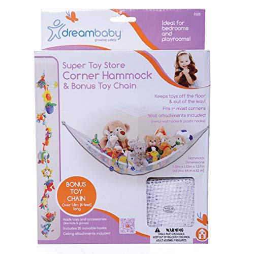 Dreambaby F605 Spielzeug-Kette Spielzeug-Aufbewahrung im Set mit Spielzeug-Organizer-Hängematte Spielzeug-Aufbewahrung Kinderspielzeug-Organizer für Kuscheltiere (Spielzeug Stofftier Kette)