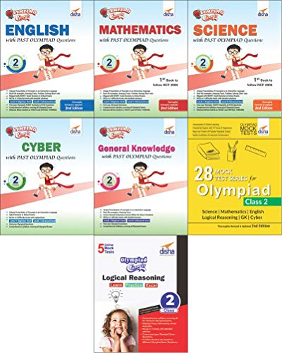 Olympiad Champs Science, Mathematics, English, Logical Reasoning, Cyber & GK Class 2 with 28 Mock Tests (Set of 7 Books)