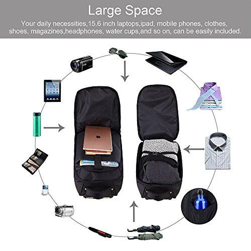 Removable mano equipaje Trolley mochila School bolsas del carro, rodando mochilas 2 ruedas, hombro Mochila Bolsa de viaje Senderismo Mochila 15 - 15,6 pulgadas portatil notebook computer (24 pulgadas de altura)