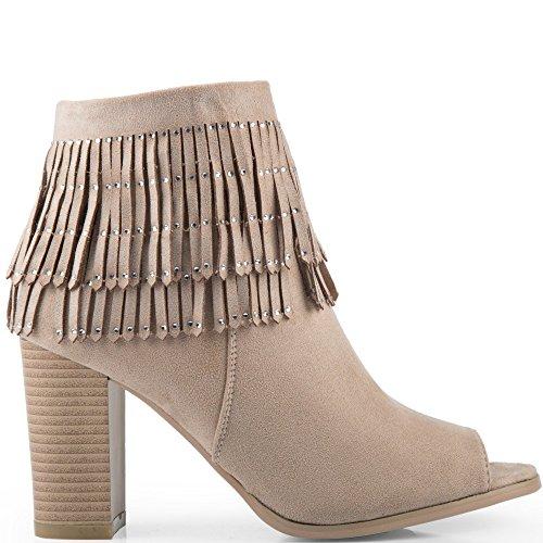 Ideal Shoes-Scarponcini, effetto pelle scamosciata, con estremità aperta con frange strassées Eleonor Beige (Beige)
