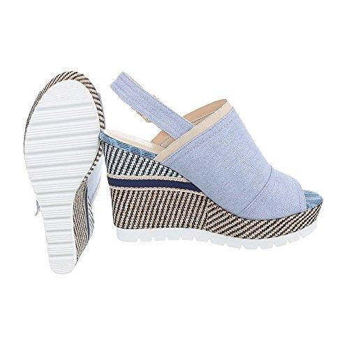 Ital-Design Chaussures Femme Sandales Compensé Sandales Compensees lumière bleue D-30